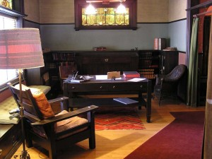 Office with Arts & Crafts style furniture
